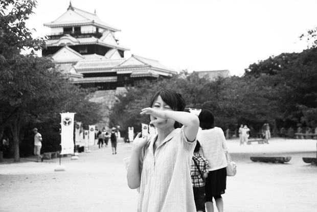 松山城で笑顔