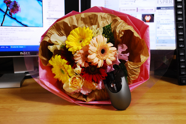花束とマウス